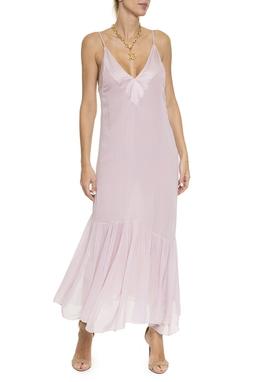 Vestido Alça Fina, Seda Rosê - DG16399