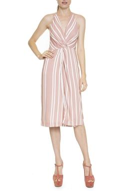 Vestido Midi Estampa Listra Rosa Branco - DG16427