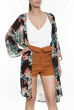 Kimono Manga Longa Flores - DG16028