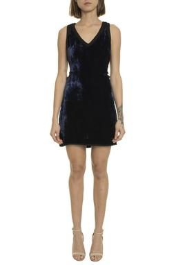 Vestido Curto Veludo Azul Marinho - DG20001