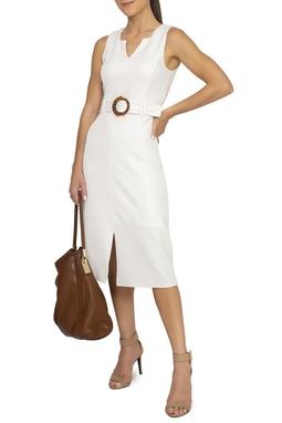 Vestido Midi Branco Cinto - DG15465