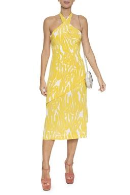 Vestido Midi Estampa Amarela Frente Única - DG16428