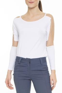 Blusa Branca Tule Aplicações - DG15639