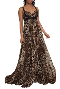 Vestido Longo Seda Animal Print - DG14881