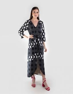 Vestido Estampado - Preto