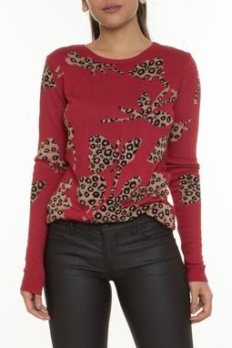 Suéter Vermelho Estampa Animal Print - DG16757