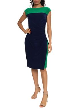 Vestido Midi Azul e Verde - DG14799