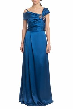 Vestido Longo Ombro A Ombro Azul - DG19063