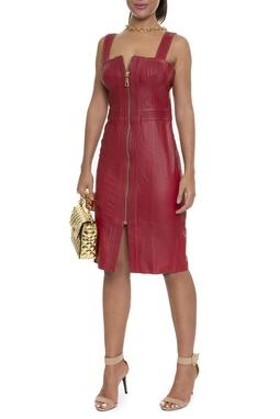 Vestido Couro Vermelho Ziper Dourado - DG16218