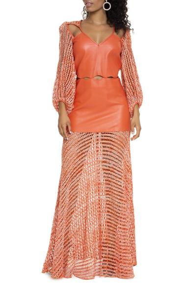 Vestido ML De Couro - DG15235 Paula Raia