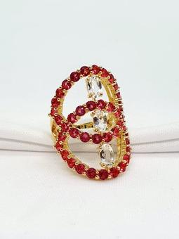 Anel Heleade Ouro Cristal Rubelita Translucido