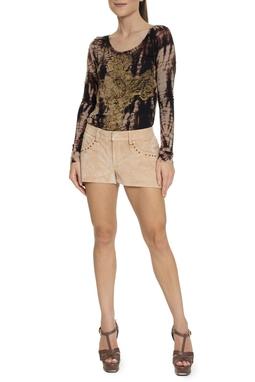 Shorts De Couro Nude - DG15201