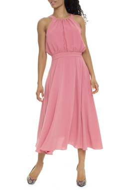 Vestido Midi Rosa Antigo Frente Única - DG15873
