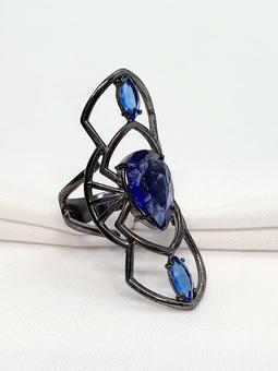 Anel Rhodes Ouro Negro Cristal Tanzanita Safira