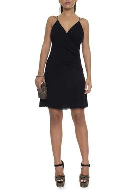 Vestido Curto Seda Alça Fina Transpassado Aplicação Brilhos - DG16074