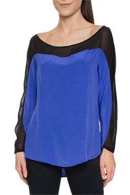 Blusa ML Azul Royal Preta - DG15652