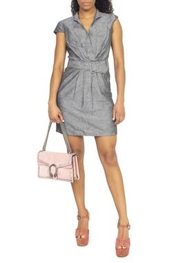 Vestido Curto Cinza Cinto - DG15392