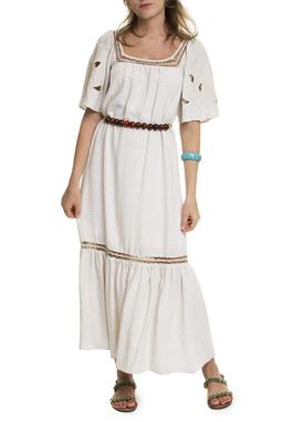 Vestido Midi Natural Detalhes - DG15112