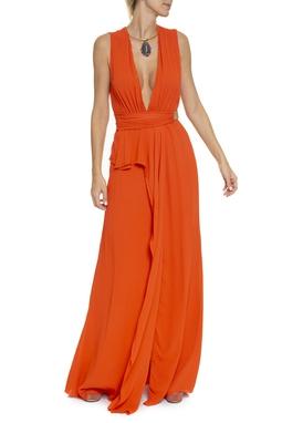 Vestido Longo Laranja Decote V - DG16381