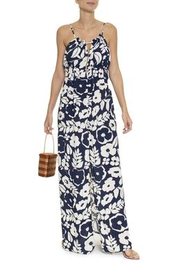 Vestido Longo Botões Estampa Floral - DG16415