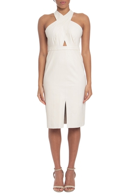 Vestido Midi Couro Branco - DG19578