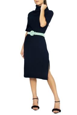 Vestido Tricot Canelado Gola Alta - DG15253