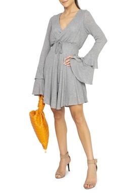 Vestido Cinza Tricot ML - DG15299