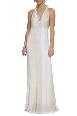 Vestido Lurex Off White Prata Dourado - DG15634