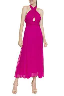 Vestido Midi Pink Seda - DG16382