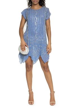 Vestido Curto De Seda Azul Bordado - DG15567
