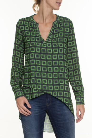Camisa Seda Mullet Estampa Verde - DG16716 Animale