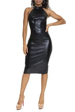 Vestido Preto Gola Alta Couro Eco - DG15506