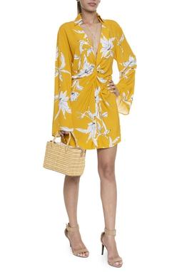 Vestido Curto Gola ML Nó Decote Estampa Flores - DG16079