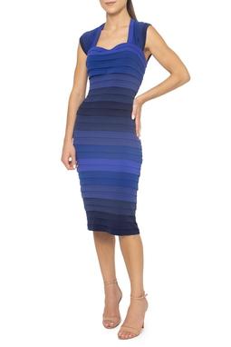Vestido Midi Azul Listras Manga Curta - DG15381