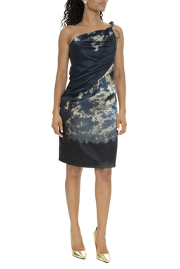 Vestido Curto Seda Um Ombro Estampado - DG15986