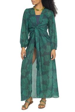 Kimono Saída de Praia Verde Estampado - DG15216