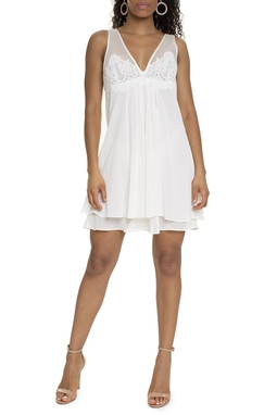 Vestido Curto Branco Detalhe Renda - DG15581