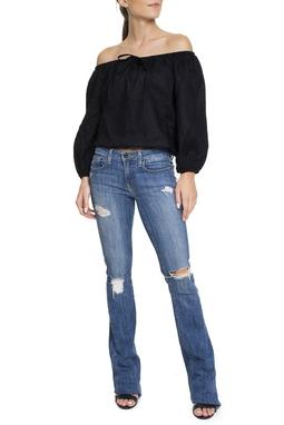 Calça Jeans Escuro Flare Rasgos - DG15231