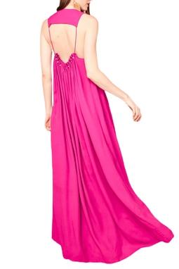 Vestido Fluído Decote Costas Pink USTL