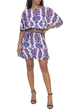 Vestido Estampado Paisley Manga Curta - DG15032