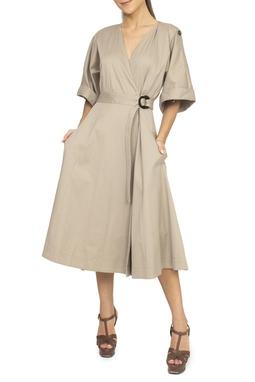 Vestido Capa Caqui Manga Curta - DG15011