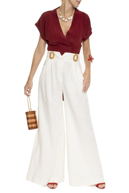 Calça Linho Pantalona Off White - DG16355