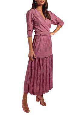 Vestido Midi Tricot Bolas Rosa USTL