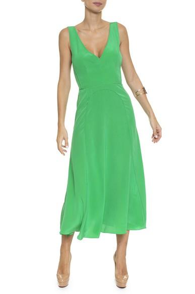 Vestido Midi Seda Regata Saia Evase - DG16407 Curadoria Dress & Go