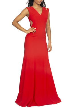 Vestido Vermelho Recorte Tule