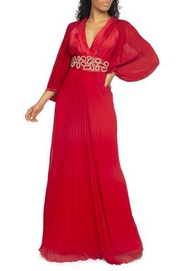 Vestido Vermelho Plissado Bordado