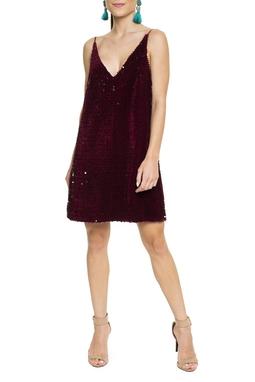 Vestido Paetê Fosco Marsala - DG15497