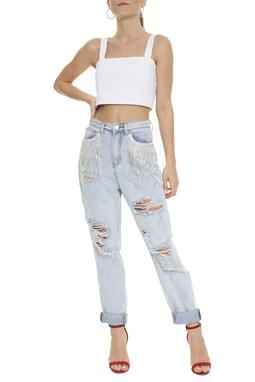 Calça Jeans Destroyed Clara Franja Strass - DG15867