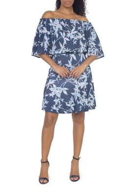 Vestido Jersey Floral Azul - DG15029