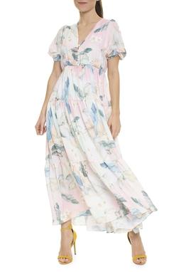 Vestido Midi Estampa Floral Manga Bufante - DG15883